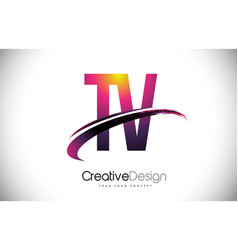 Tv t v purple letter logo with swoosh design vector