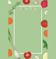 vegan food menu template vector image