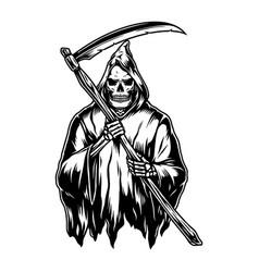 vintage concept grim reaper in hood vector image