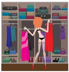 woman in a wardrobe room vector image