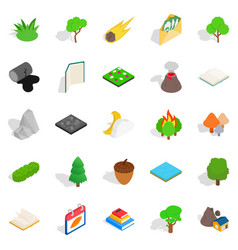 Woody icons set isometric style vector