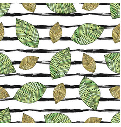 autumn seamless pattern with modern leaves on vector image vector image