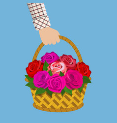 bouquet of roses in the basket vector image
