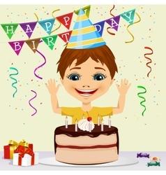 boy celebrating his birthday smiling vector image vector image