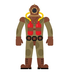 Diver old diving suit Retro clothing for scuba vector image