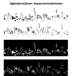 Seamless horizontal borders with stylized growing vector image