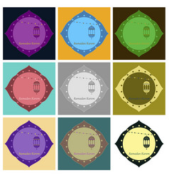 set of icons in flat style ramadan oriental vector image
