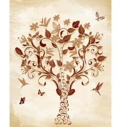 tree on papyrus vector image vector image
