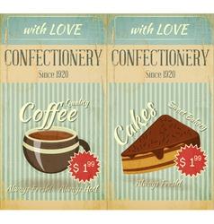 Vintage two cards cafe confectionery dessert menu vector