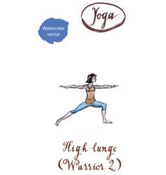 young woman practicing yoga asana virabhadrasana vector image