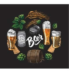 Beer Hop Elements In Circle vector image
