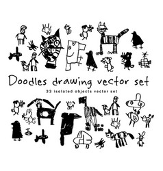 doodles drawing set isolated objects black and vector image