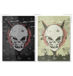 evil skull set terrible gothic poster the banner vector image