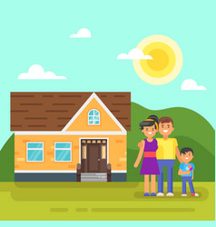 house with happy family vector image