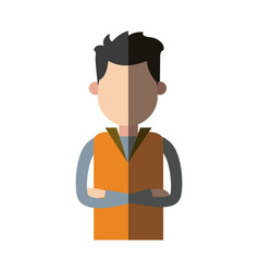 Man wear vest crossed arms clothes casual vector