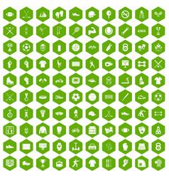 100 athlete icons hexagon green vector