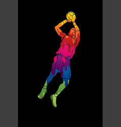 basketball player jumping and prepare shooting a b vector image vector image