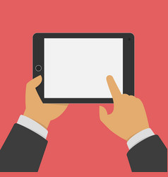 man holding tablet in hands vector image vector image