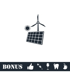 Solar panel and windmills for energy icon flat vector image