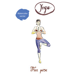 woman standing in yoga tree pose vector image vector image