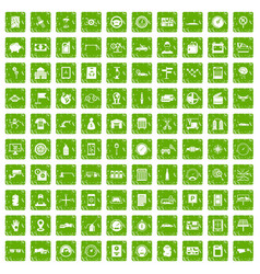 100 auto repair icons set grunge green vector image