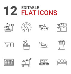 12 airport icons vector