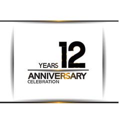 12 years anniversary black color simple design vector
