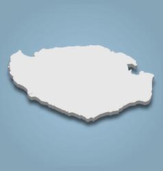 3d isometric map buru is an island in indonesia vector