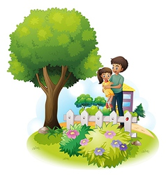 A father and his daughter near the wooden fence vector image