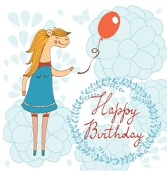 Adorable Happy birthday card with beautiful horse vector
