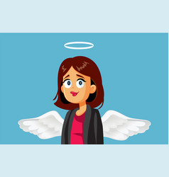 Angel businesswoman with halo and wings cartoon vector