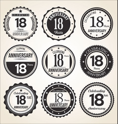 Anniversary retro vintage black and white badges vector