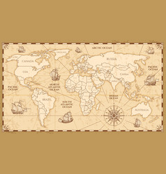 Antique world map with countries boundaries vector