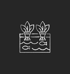 Aquaponics chalk white icon on dark background vector