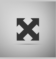 Arrows in four directions icon on grey background vector
