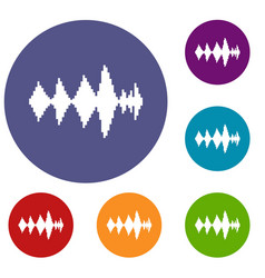 Audio digital equalizer technology icons set vector