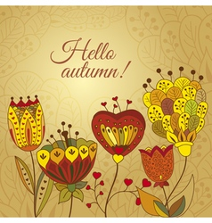 autumn doodles card vector image