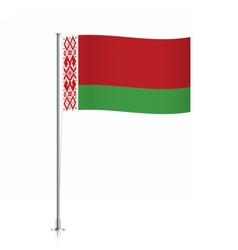 Belarus flag waving on a metallic pole vector