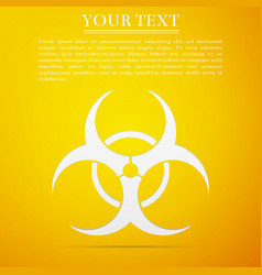 Biohazard symbol flat icon on yellow background vector