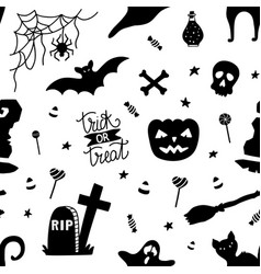black and white seamless pattern for halloween vector image