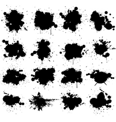 Black ink splat isolated on white collection set vector