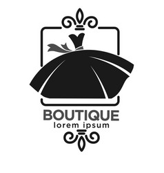Boutique black logo label with dress on white vector