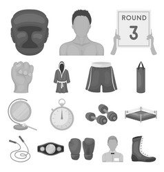 boxing extreme sports monochrome icons in set vector image