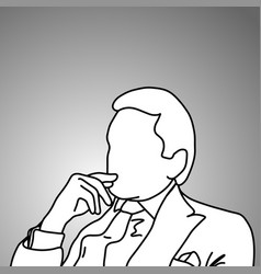 businessman thinking with hand gesture vector image