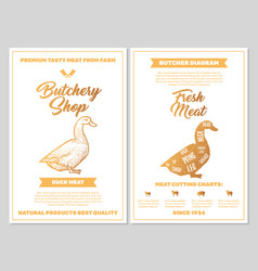 Butchery shop poster with duck meat cutting charts vector
