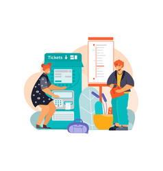 buying train tickets composition vector image