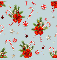 Candy cane and ribbon decor vector