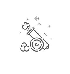 Cannon with cores simple line icon symbol vector
