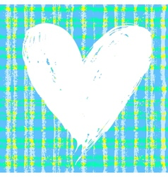 Card with hand drawn heart on plaid background vector image