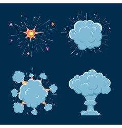 Cartoon bomb explosion with smoke vector image